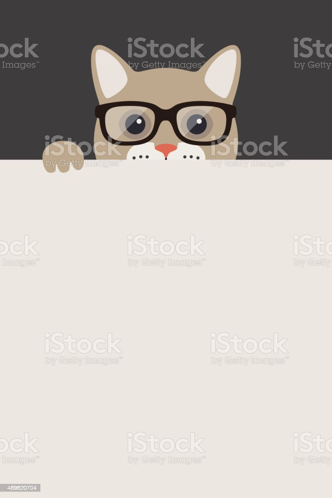 Fashion portrait of cat, teacher cat vector art illustration