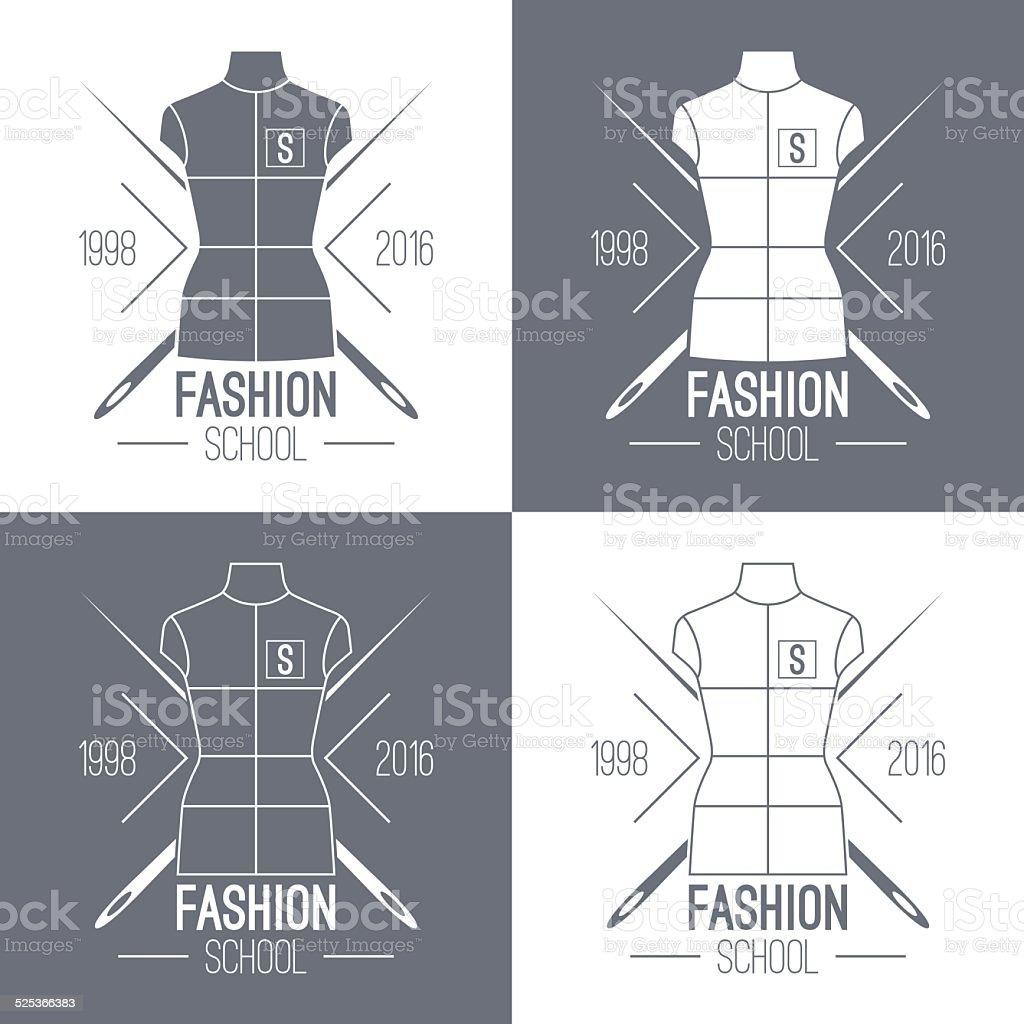 Fashion school emblem vector art illustration