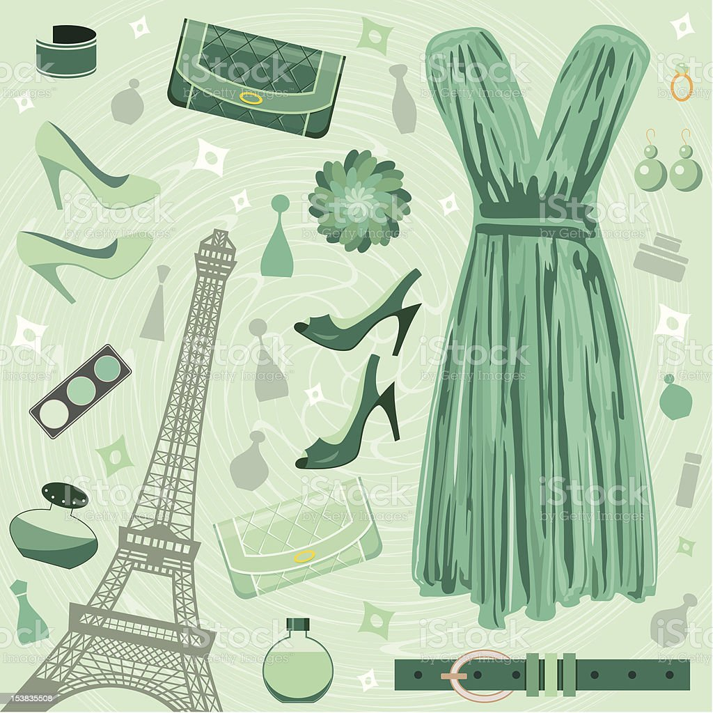 Fashion set in green tones royalty-free stock vector art