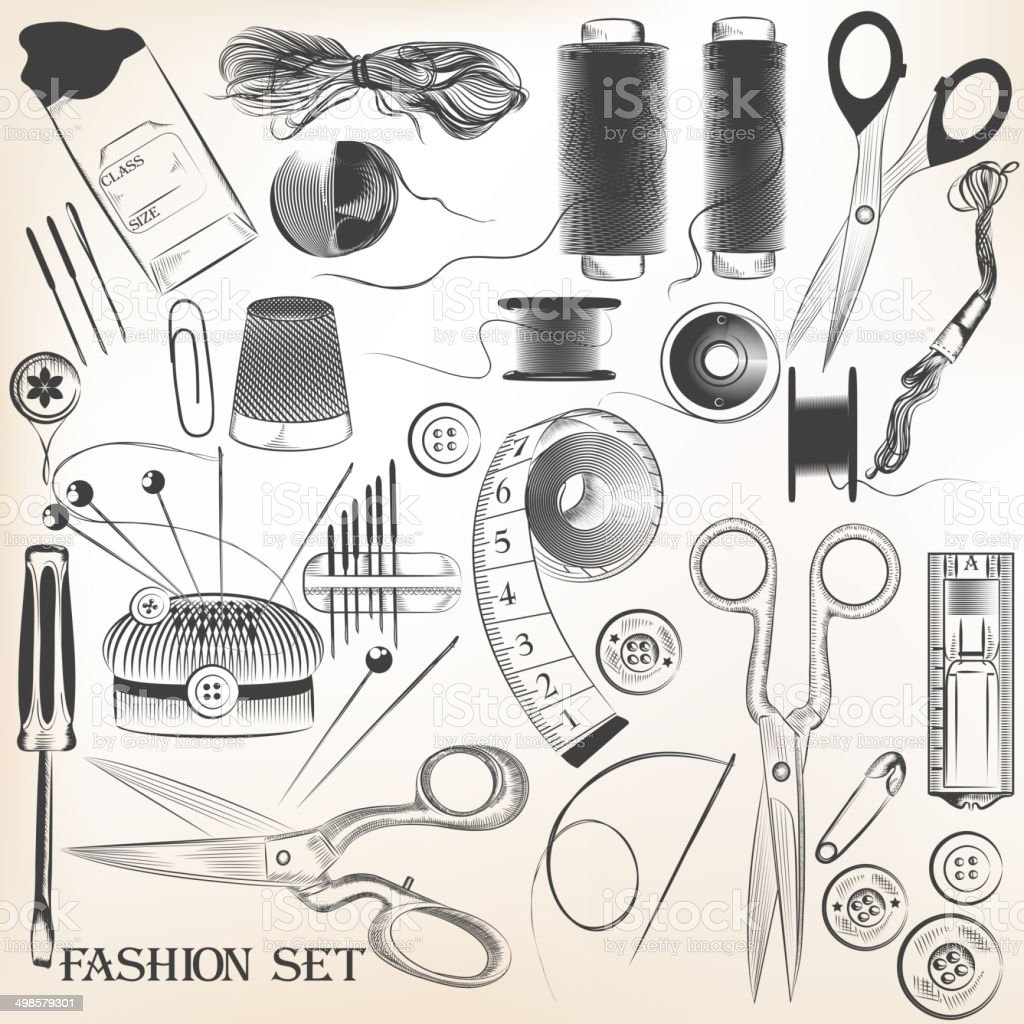 Fashion set of vector high detailed sewing accessories vector art illustration