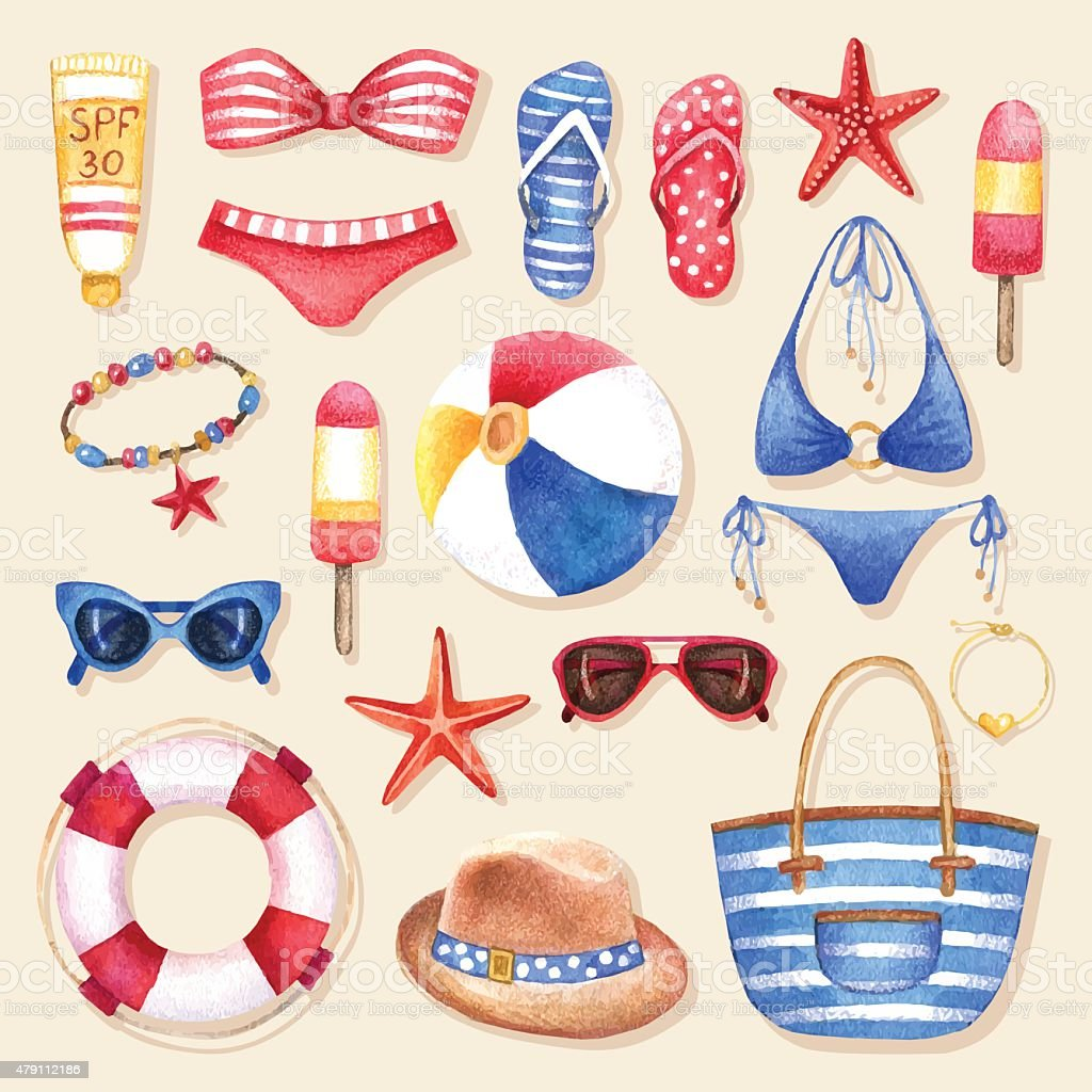 Fashion set of watercolor woman'€™s beach accessories vector art illustration