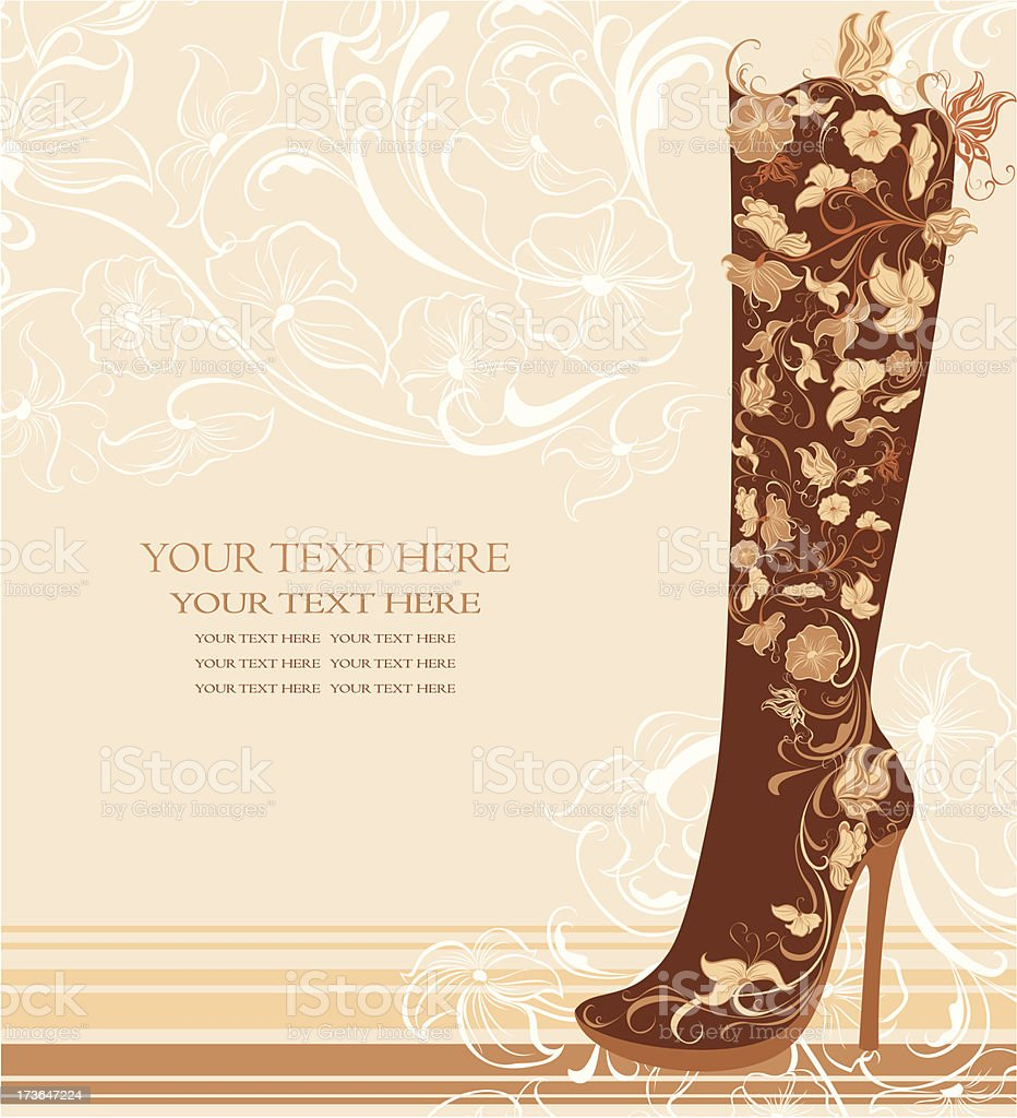 Fashion shoes on a floral background vector art illustration