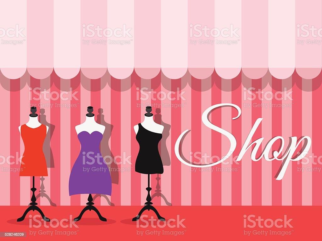 Fashion shopfront window with mannequins, vector vector art illustration