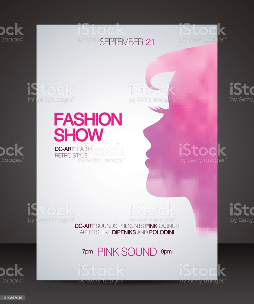 Fashion show flyer with pink watercolor silhouette of beautiful vector art illustration