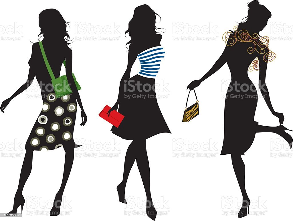 Fashion silhouettes with purses royalty-free stock vector art