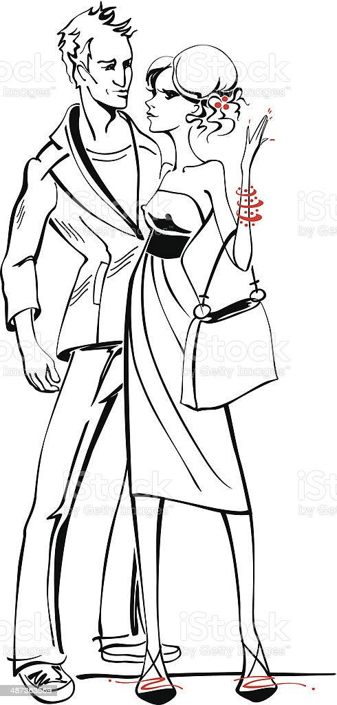 Fashion Sketch Of Stylish Man And Woman Talking Very ...
