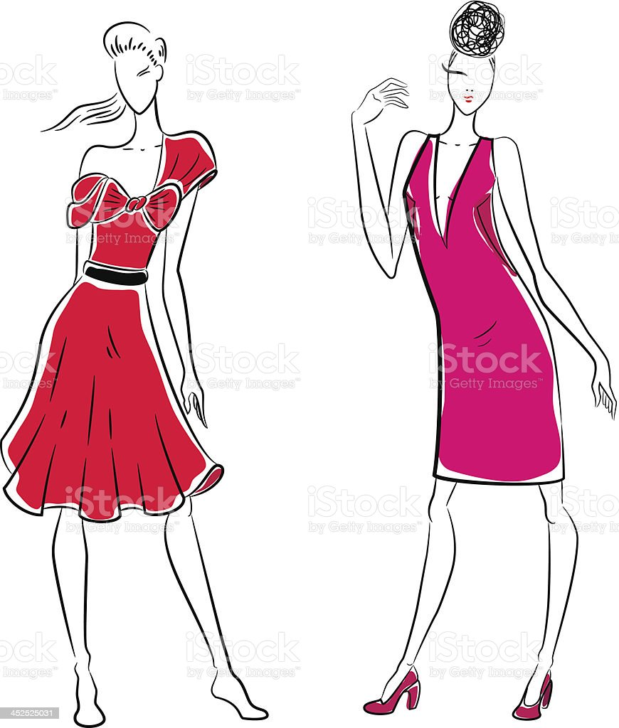 Fashion sketch of two women posing vector art illustration