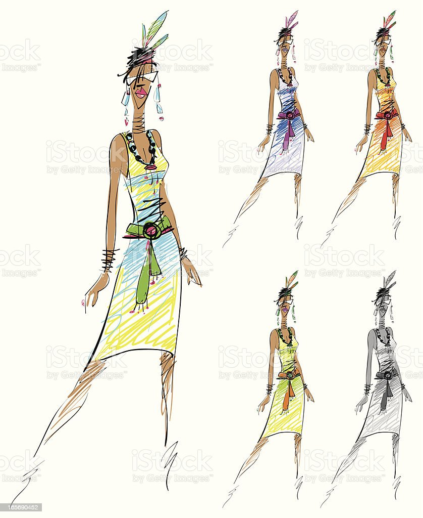 Fashion sketch vector art illustration