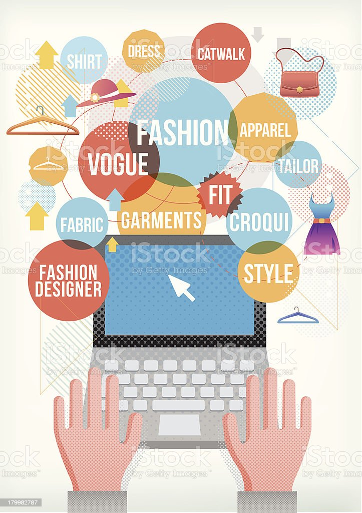 Fashion terms on laptop vector art illustration