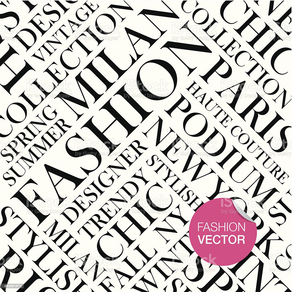 Fashion vector background, words cloud. vector art illustration