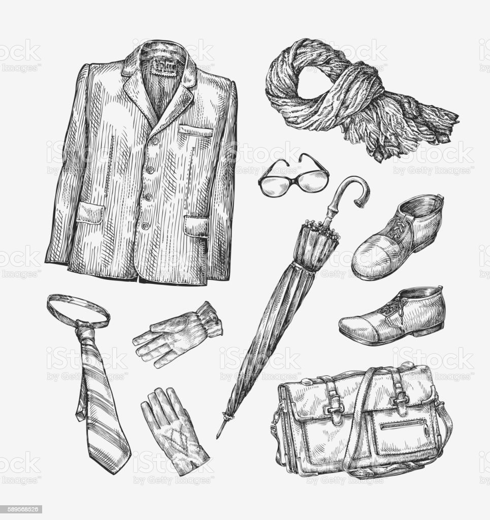 Fashion. Vector collection of men clothing. Hand-drawn sketch umbrella vector art illustration