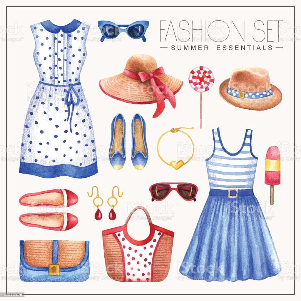 Fashion watercolor woman'€™s outfit with dresses, hats, bags and shoes vector art illustration