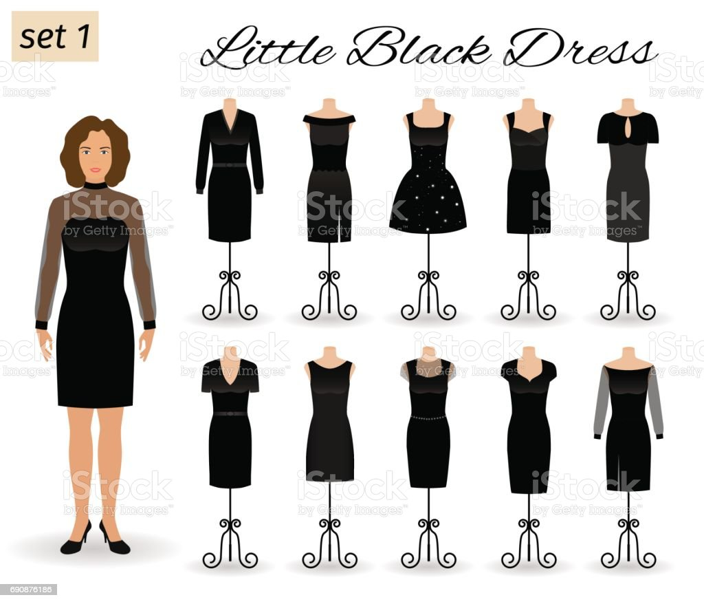 Fashion woman character in little black dress. Set of cocktail dresses on a mannequins. vector art illustration