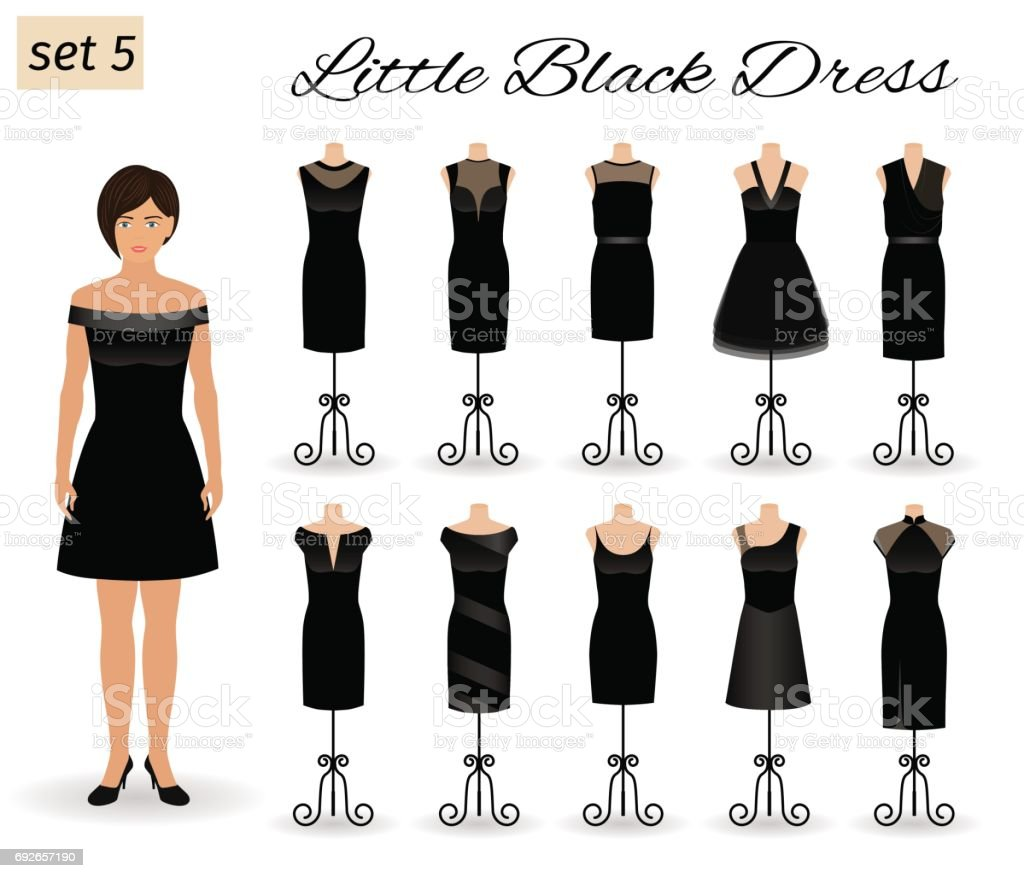 Fashion woman model character in little black dress. Set of cocktail dresses on a mannequins. vector art illustration