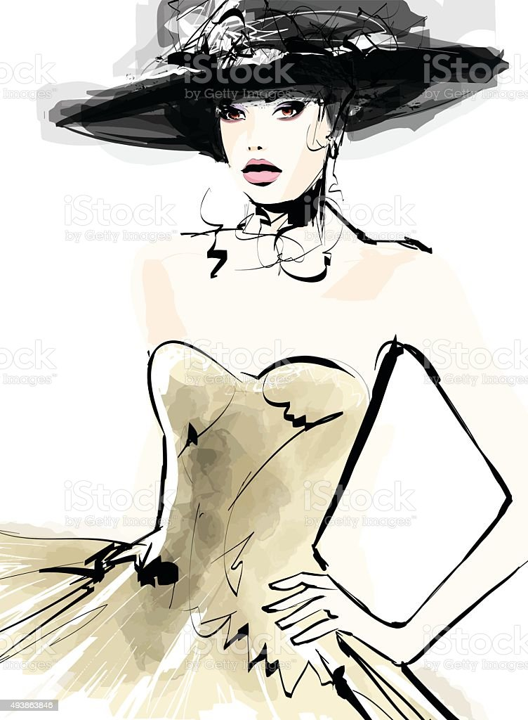 Fashion woman model with a hat vector art illustration