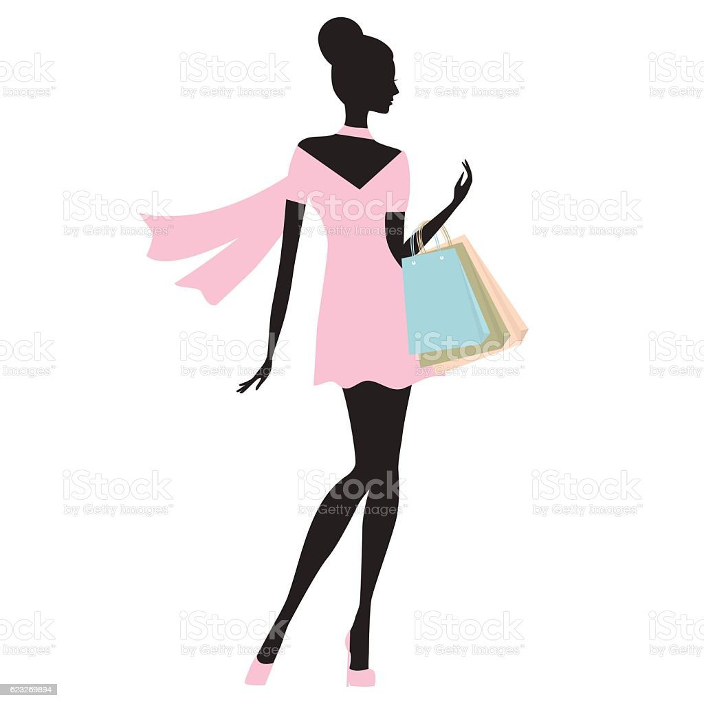 fashion woman whith  shopping bags vector. vector art illustration