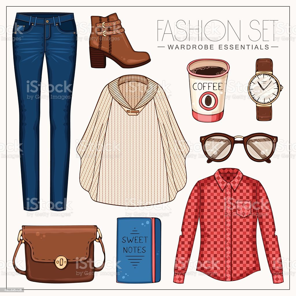 Fashion woman'€™s outfit with plaid shirt, jeans, cape and boots vector art illustration