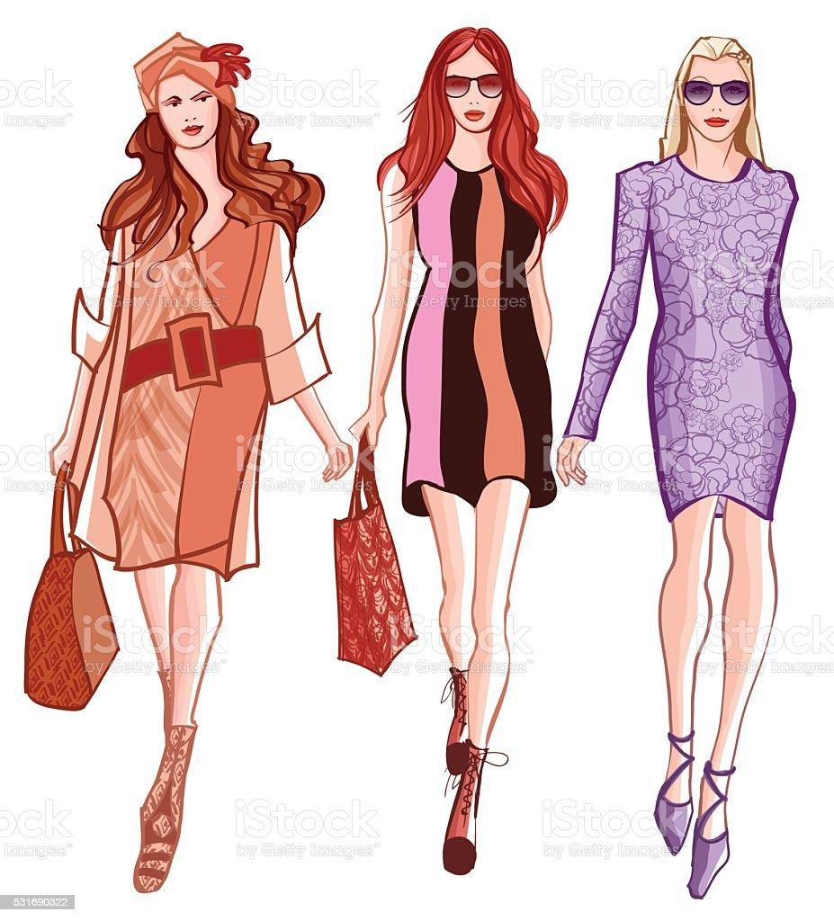Fashion women defile vector art illustration