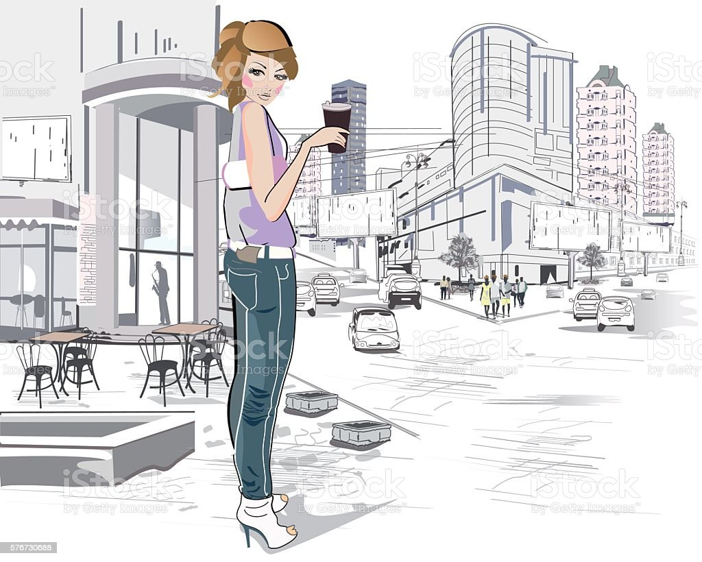 Fashion young girl drinking coffee in the street. vector art illustration
