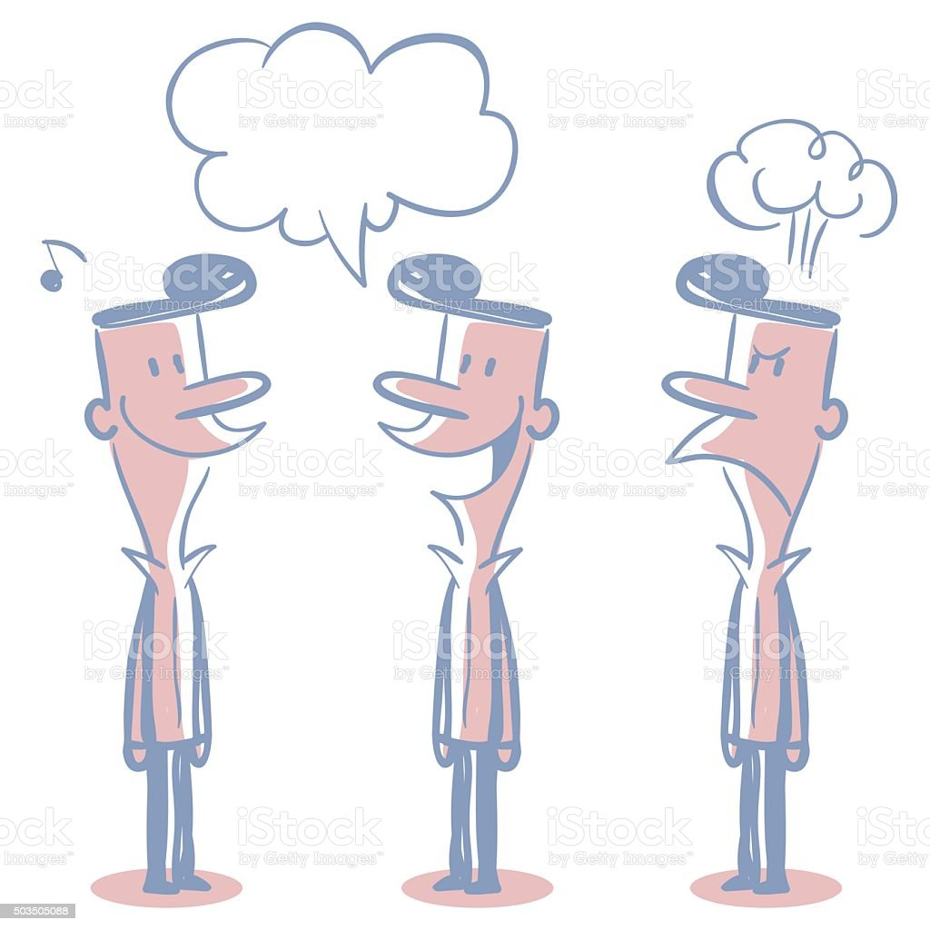 Fashion Young Man (Student) Doodle Emotion, Talking, Smiling, Angry vector art illustration