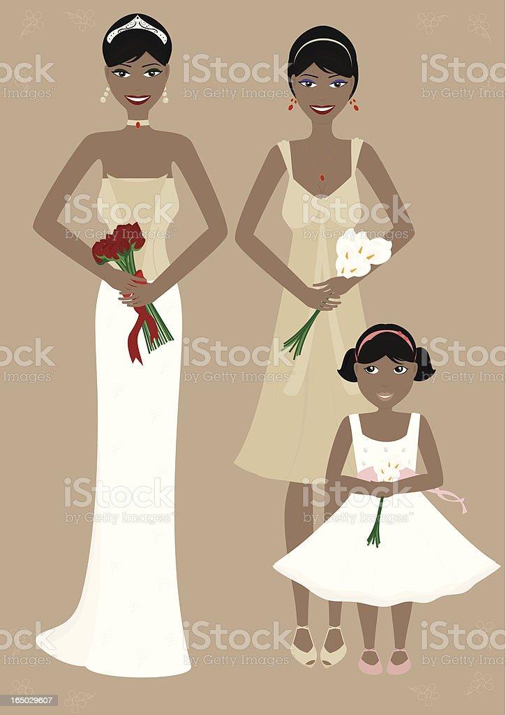Fashionable Bride & Bridesmaids - incl. jpeg vector art illustration