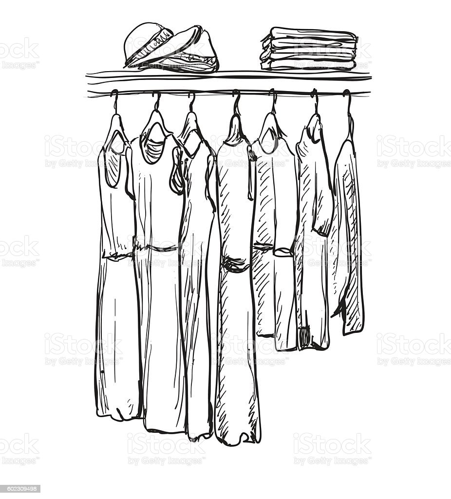 Fashionable clothes for women on hangers. vector art illustration