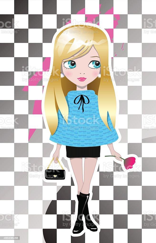 Fashionable Girl vector art illustration