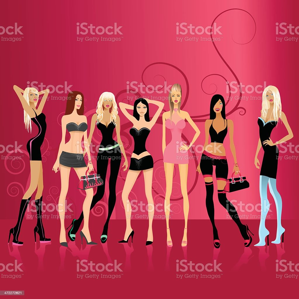 Fashionable ladies on pink royalty-free stock vector art