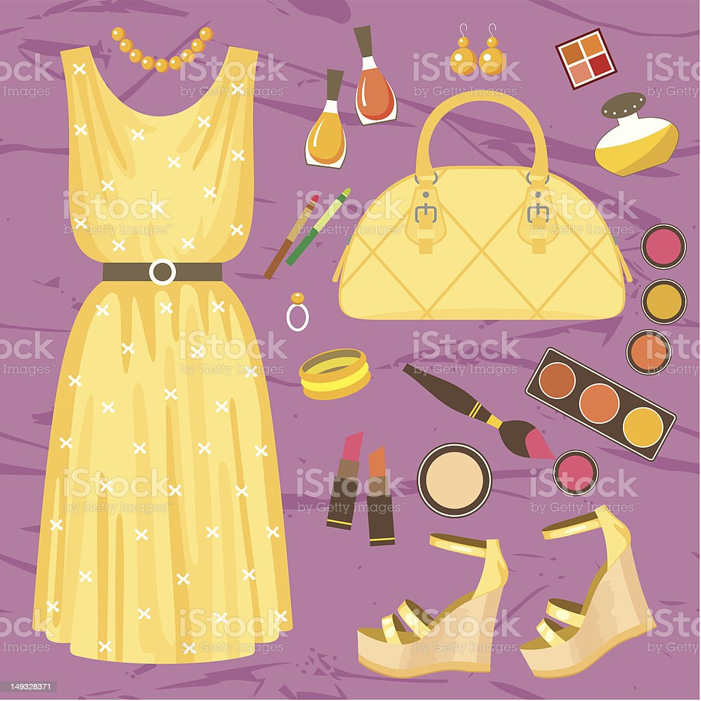 Fashionable set with a summer dress royalty-free stock vector art
