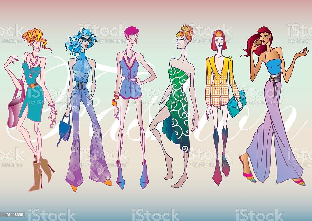 Fashionable Shoppers vector art illustration