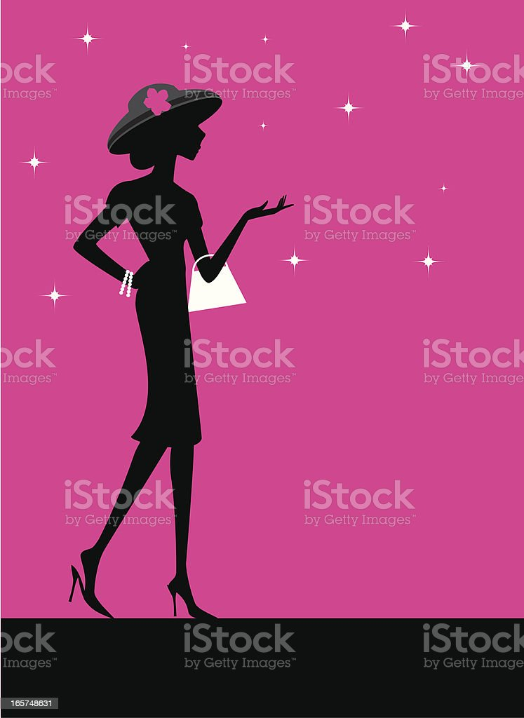 Fashionable Woman in Hat vector art illustration