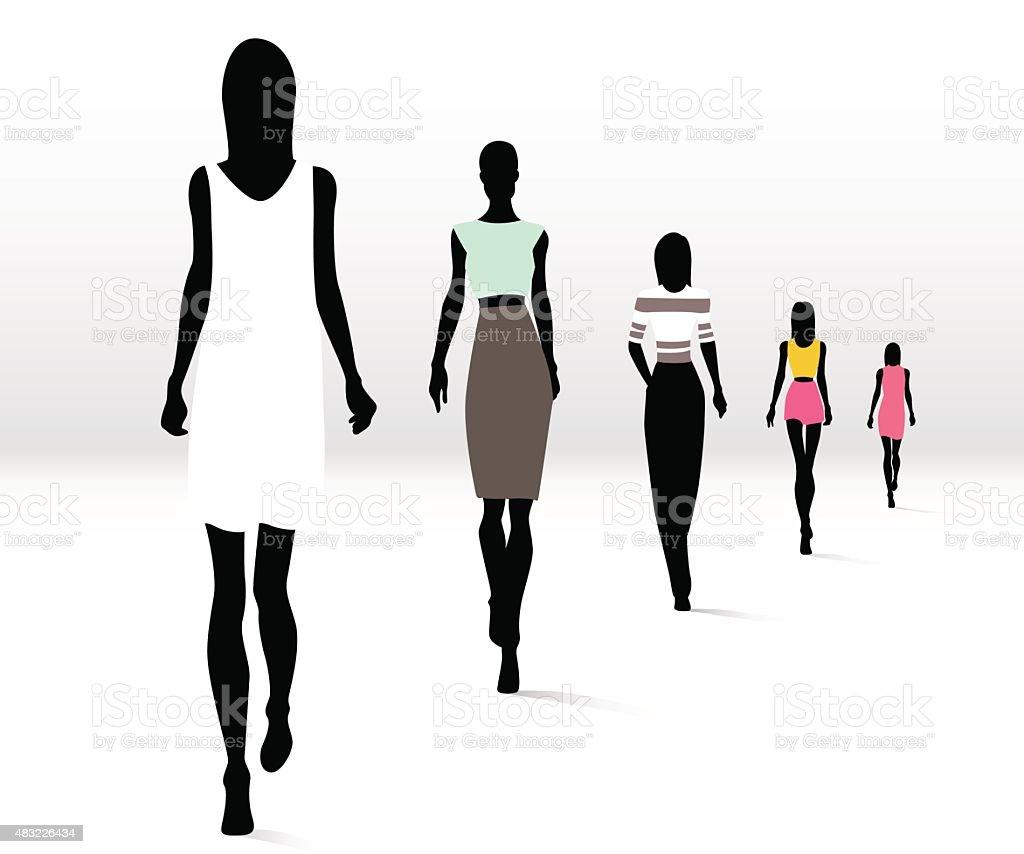 Fashionable women on runway vector art illustration