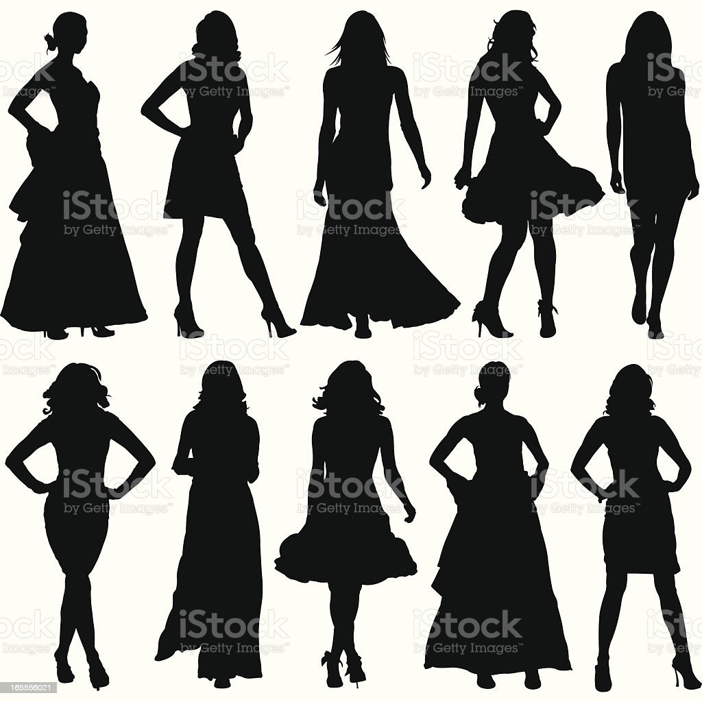 Fashionable Women Silhouette Set vector art illustration