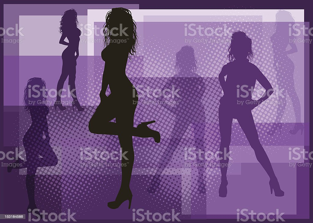Fashionable Women Silhouette vector art illustration