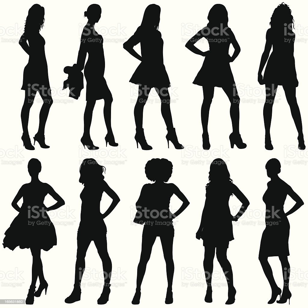 Fashionable Women Silhouettes vector art illustration