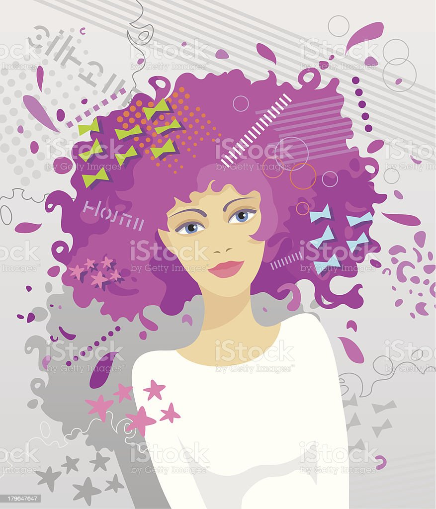 Fashionable women's hairstyle royalty-free stock vector art