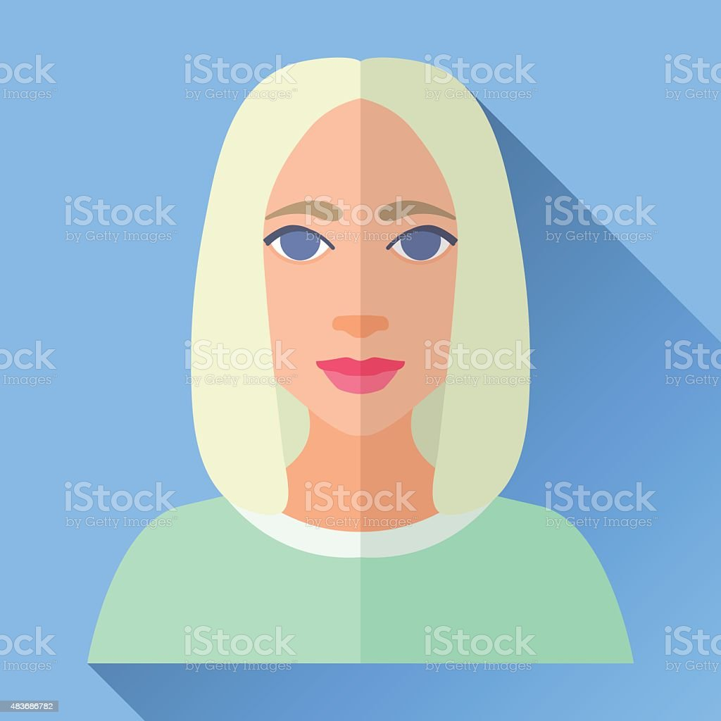 Fashionable young woman with bob haircutr, flat icon with shadow vector art illustration