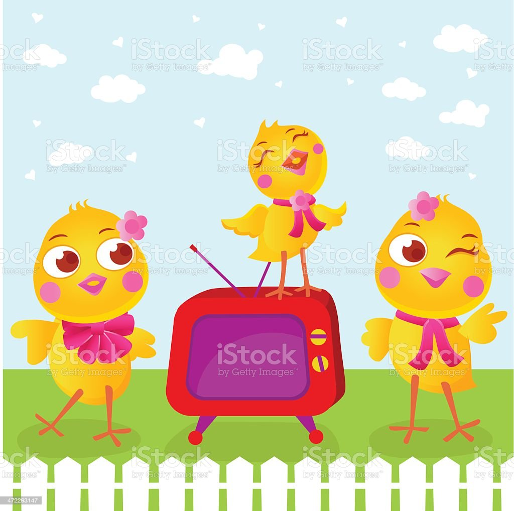 Fashionista Cute Easter Chicks Partying Outside royalty-free stock vector art
