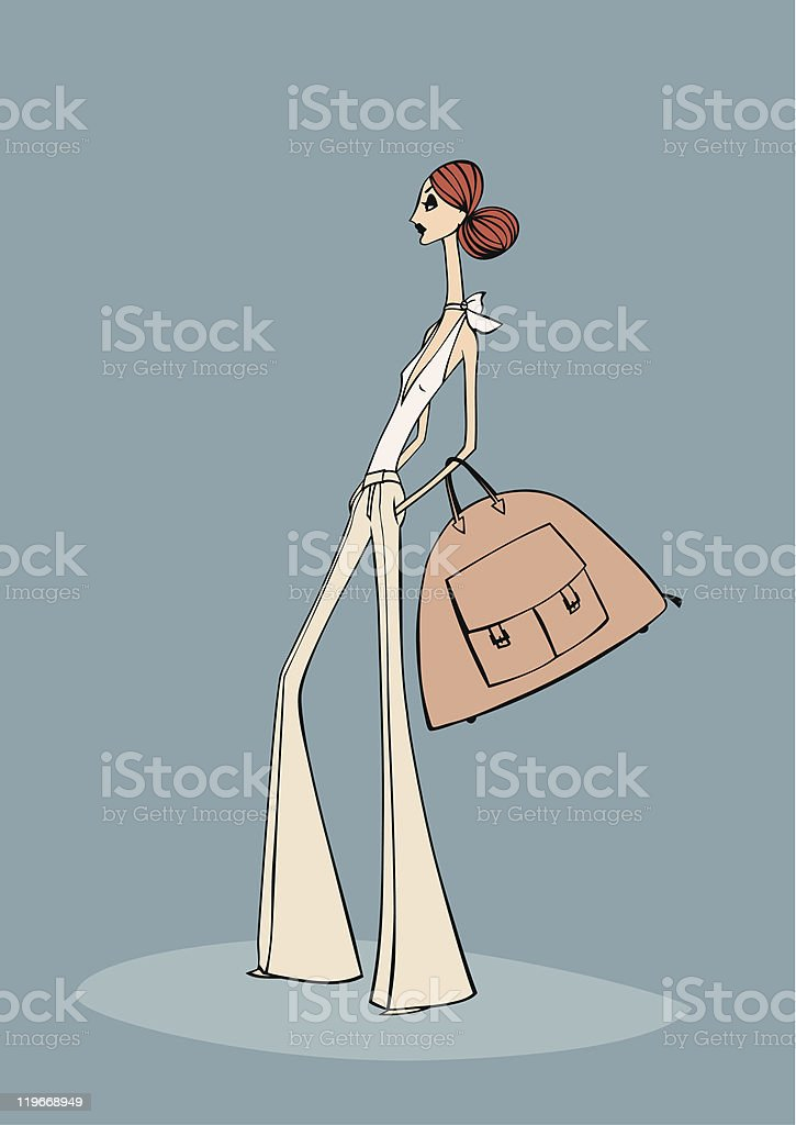 Fashionista with 'It' Bag vector art illustration