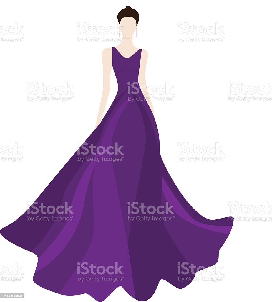 Fashionl brunette woman in stylish evening dress, vector art illustration