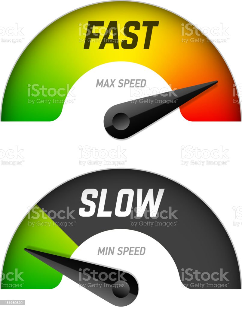 Fast and slow download vector art illustration