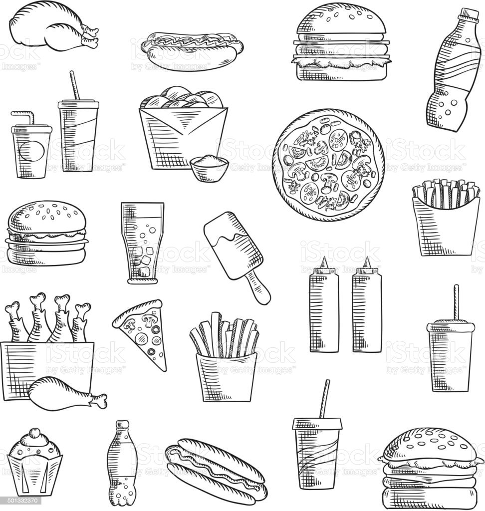 Fast and takeaway food sketched icons vector art illustration