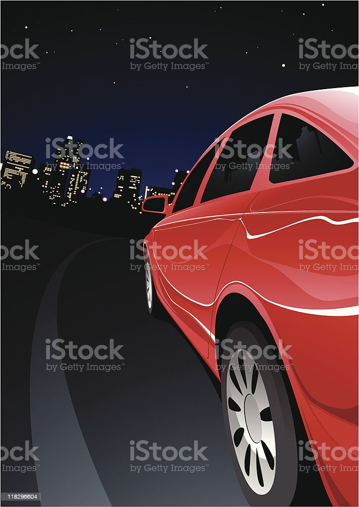 fast car in night royalty-free stock vector art