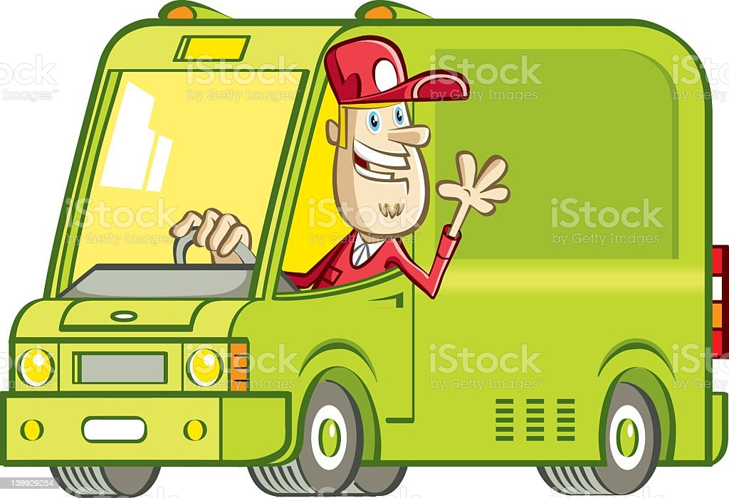 fast delivery and staff vector art illustration