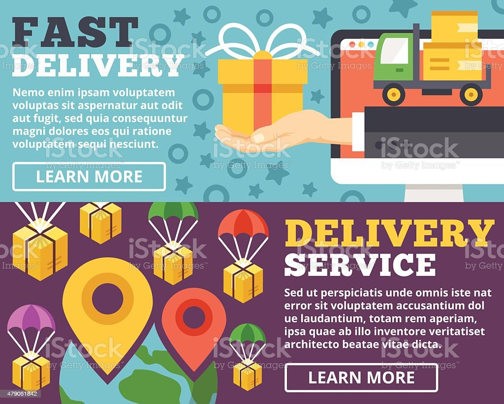 Fast delivery, delivery service flat illustration concepts set vector art illustration