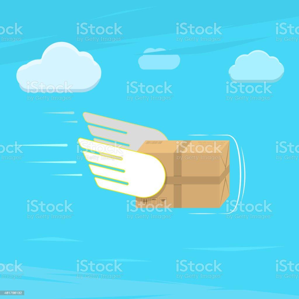 Fast delivery service flat vector illustration. vector art illustration