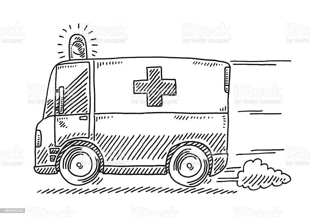 Fast Driving Ambulance Drawing vector art illustration