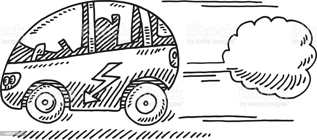 Fast Electric Car Drawing vector art illustration
