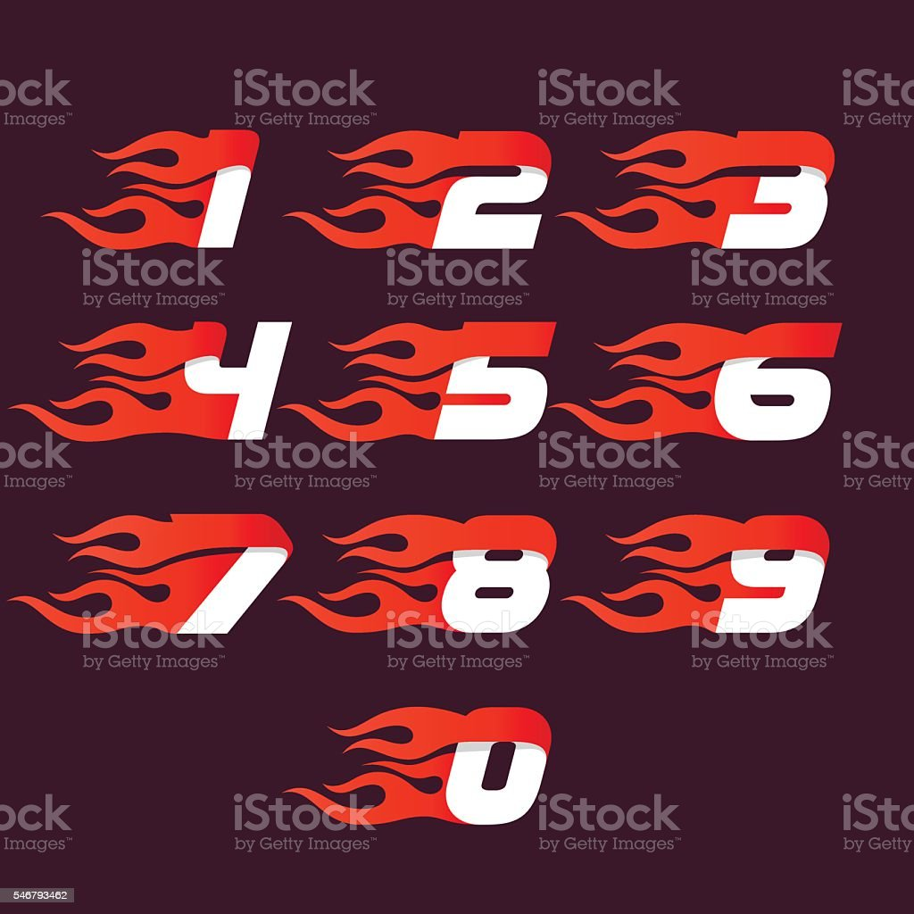 Fast fire numbers set icons. vector art illustration