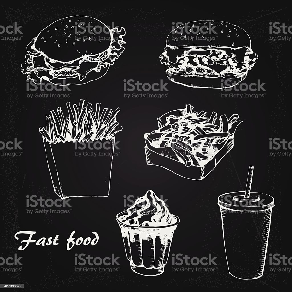 Fast food 1 vector art illustration
